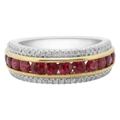Ruby Round Channel Set Diamond Round Two Color Gold Fashion Cocktail Band Ring