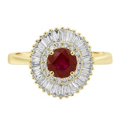 Ruby Round Diamond Double Halo Gold Art Deco Ballerina Bridal Cocktail Ring