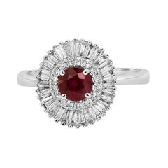 Ruby Diamond Double Halo Gold Art Deco Style Ballerina Bridal Cocktail Ring