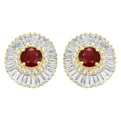 Ruby Round Diamond Double Halo Gold Ballerina Style Earring