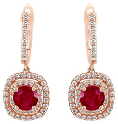 Ruby Round Diamond Double Halo Rose Gold Dangle Drop Fashion Clip-On Earrings