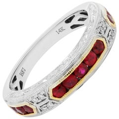 Ruby Round Diamond Engraved Filigree Two Color Gold Fashion Bridal Band Ring