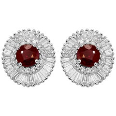 Ruby Round Diamond Round Baguettes Double Halo Gold Ballerina Style Earring