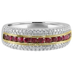 Ruby Round Diamond Three-Row Two-Color Gold Fashion Cocktail Band Ring