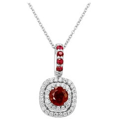 Ruby Round White Diamond Double Halo Gold Pendant Drop Necklace