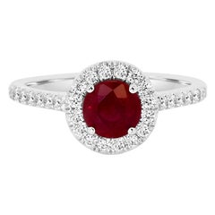 Ruby Round White Diamond Halo 18 Karat White Gold Bridal Fashion Cocktail Ring