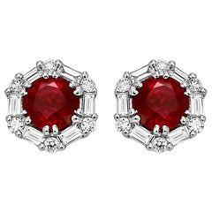 Ruby Round White Diamond Halo Gold Stud Earring