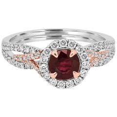 Ruby Round White Diamond Halo Two-Color Gold Bridal Cocktail Ring