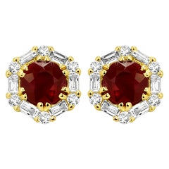 Ruby Round White Diamond Halo Yellow Gold Fashion Stud Earring