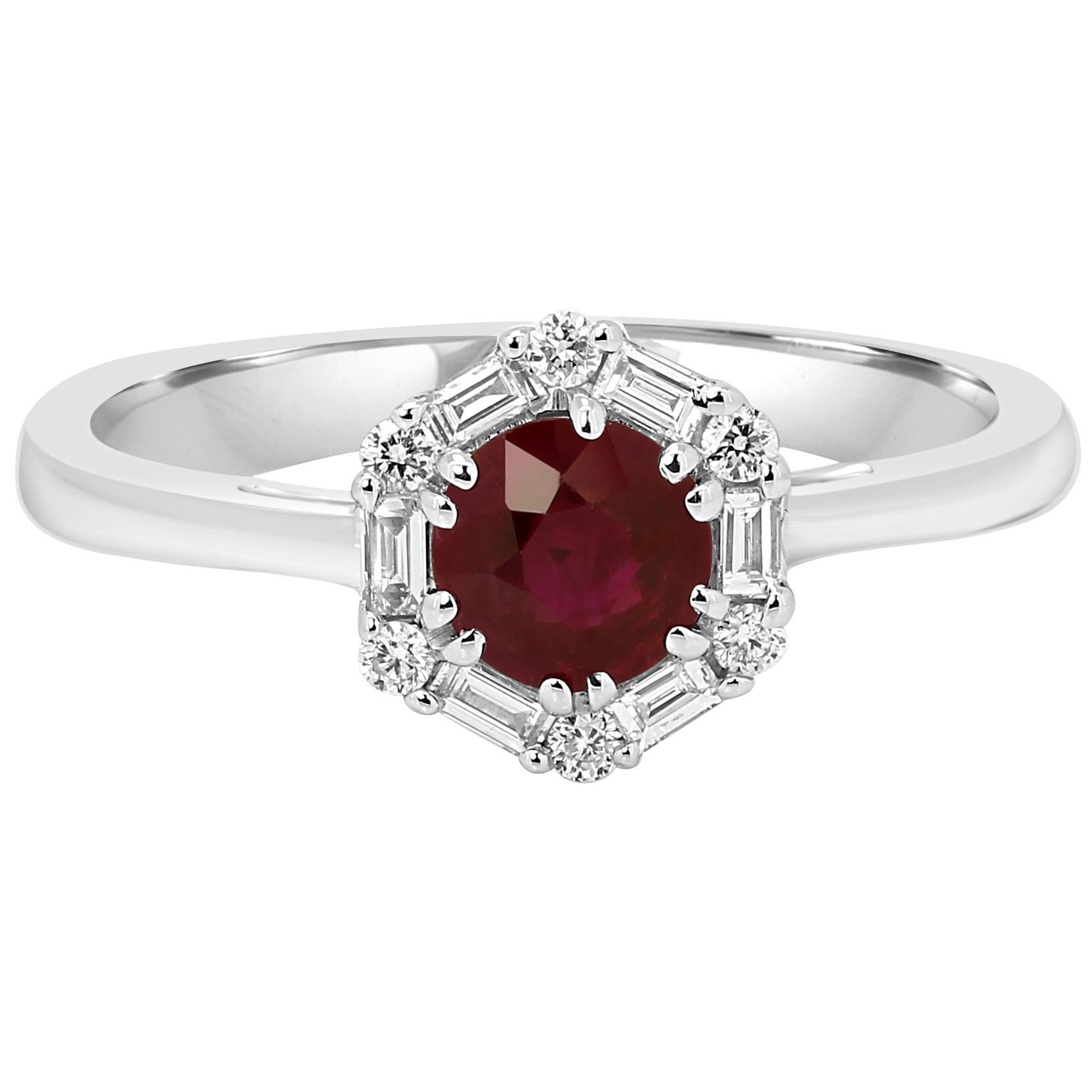 Ruby Round White Diamond Single Halo Bridal Cocktail Gold Ring