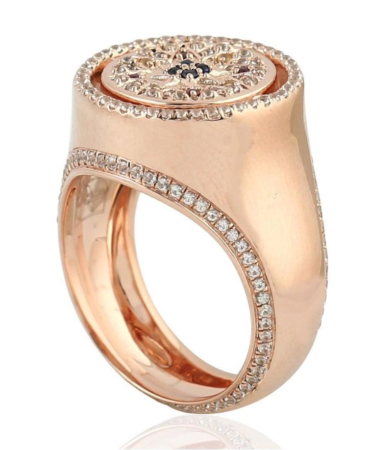 Round Cut Ruby Sapphire 9 Karat Gold Signet Ring For Sale