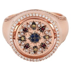 Ruby Sapphire 9 Karat Gold Signet Ring