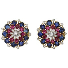 Ruby, Sapphire and Diamond Firework Cluster Earrings in 18 Karat Yellow Gold