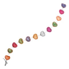 Ruby Sapphire and Diamond Heart Bracelet Tri Color Gold Stambolian