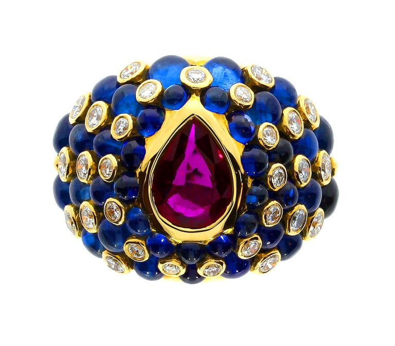 Chatila Ruby Sapphire and Diamond Ring In New Condition For Sale In London, GB