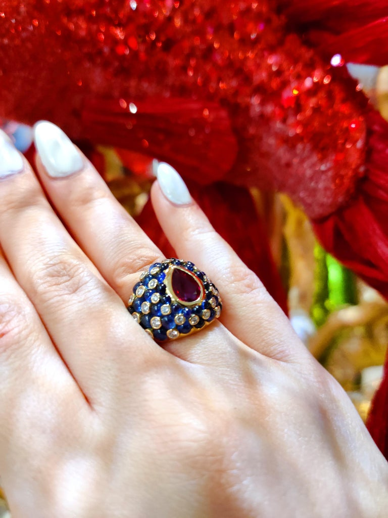Women's or Men's Chatila Ruby Sapphire and Diamond Ring For Sale