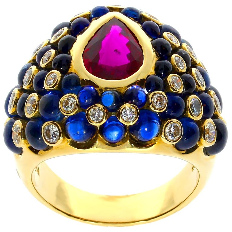 Chatila Ruby Sapphire and Diamond Ring For Sale