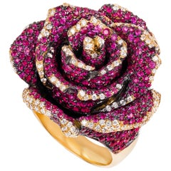 "Ruby, Sapphire and Diamond ""Rosebud"" Ring in Yellow Gold"