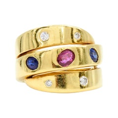Ruby, Sapphire and Diamond Wrapped 3-Row Ring by Van Cleef & Arpels, circa 1980s
