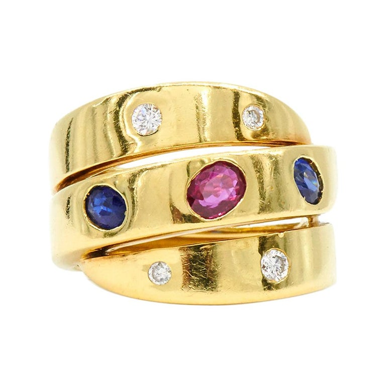 Ruby, Sapphire and Diamond Wrapped 3-Row Ring by Van Cleef & Arpels, circa 1980s For Sale