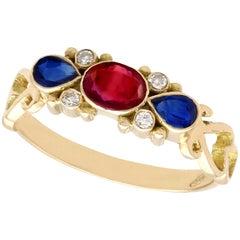 Ruby Sapphire and Diamond Yellow Gold Dress Ring