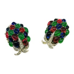 Ruby, sapphire and emerald glass cabuchon 'cluster' earrings, France, 1960s