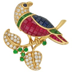 Ruby, Sapphire, Diamond and Garnet Parrot Brooch Set in 18k Yellow Gold