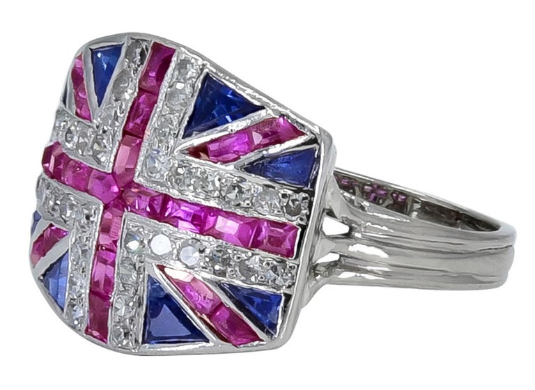 Ruby Sapphire and Diamond British Flag Ring In Good Condition In New York, NY