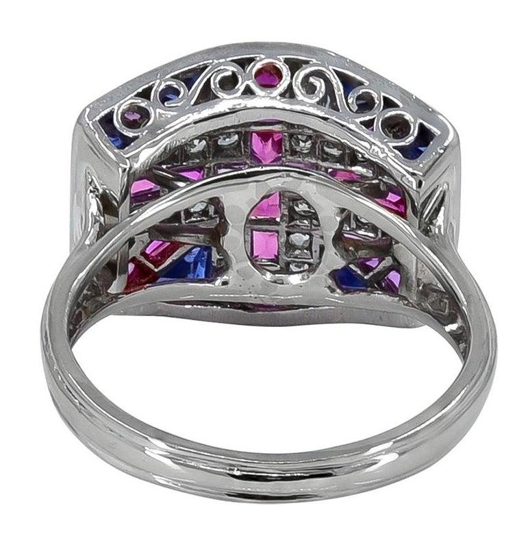 Women's or Men's Ruby Sapphire and Diamond British Flag Ring