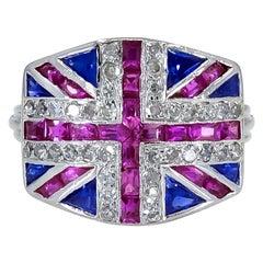 Ruby Sapphire and Diamond British Flag Ring
