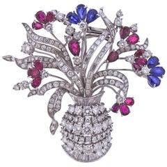 Ruby Sapphire Diamond Gold Flower Basket Brooch