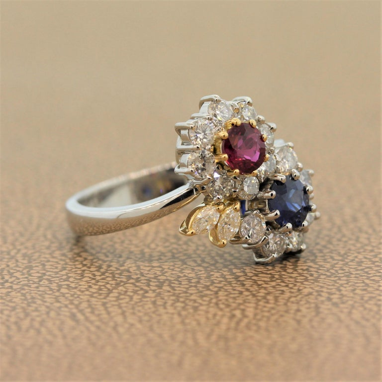 Ruby Sapphire Diamond Platinum Gold Flower Ring In New Condition For Sale In Beverly Hills, CA