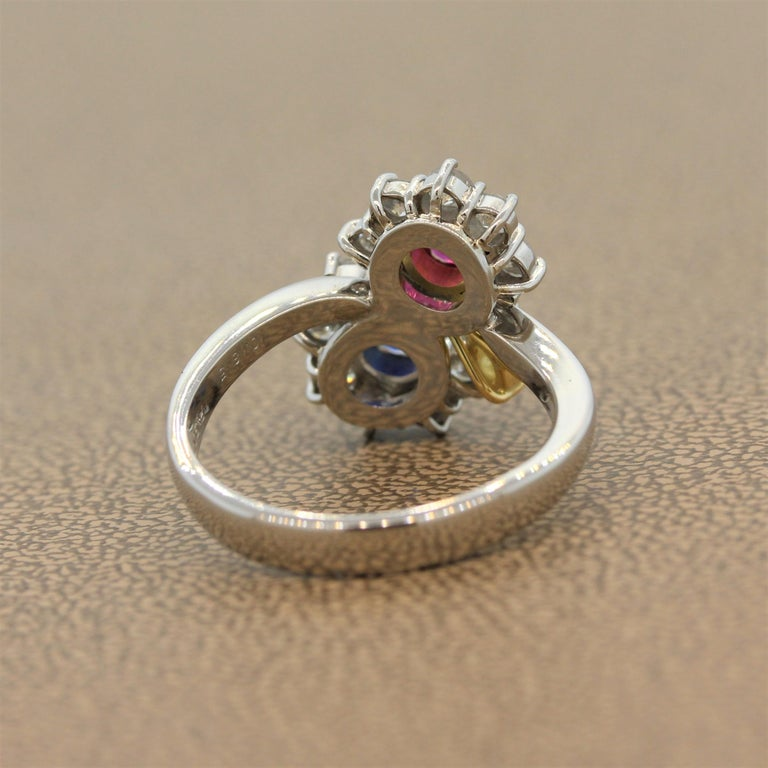 Ruby Sapphire Diamond Platinum Gold Flower Ring For Sale 1