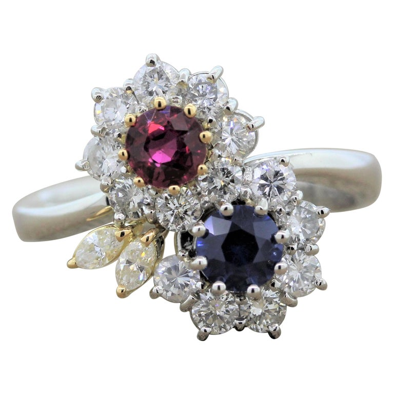 Ruby Sapphire Diamond Platinum Gold Flower Ring For Sale