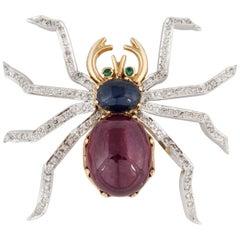 Ruby Sapphire Diamond Spider Pin