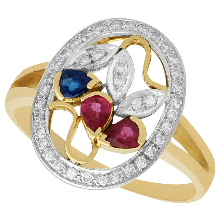 Ruby Sapphire Diamond Yellow Gold Cocktail Ring For Sale
