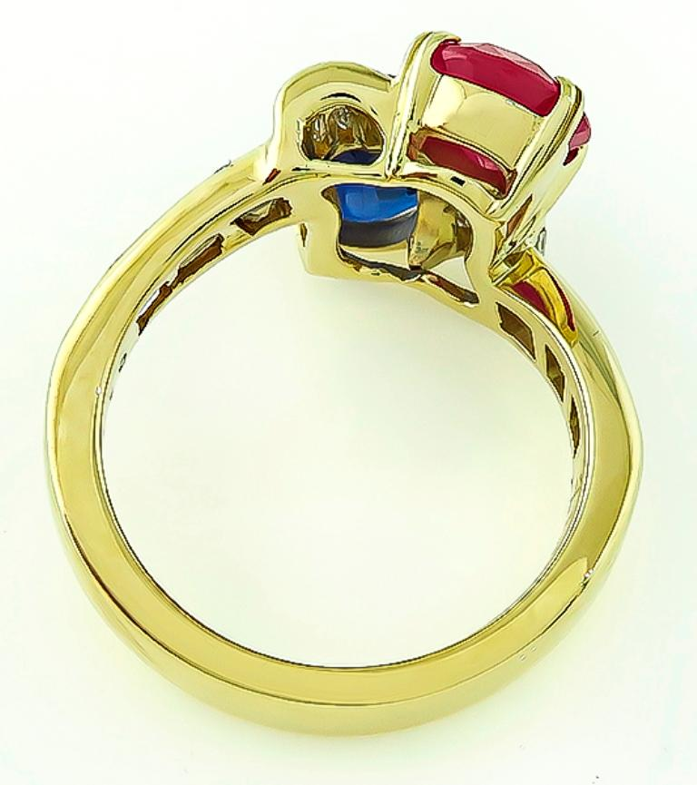 Oval Cut Ruby Sapphire Diamond Yellow Gold Ring For Sale