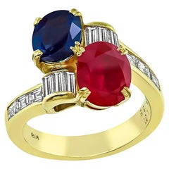 Ruby Sapphire Diamond Yellow Gold Ring