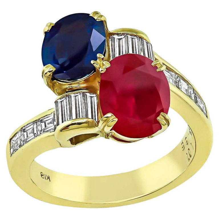 Ruby Sapphire Diamond Yellow Gold Ring For Sale
