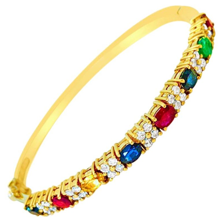 Ruby Sapphire Emerald and Diamond Bracelet in 18 Karat Yellow Gold For Sale