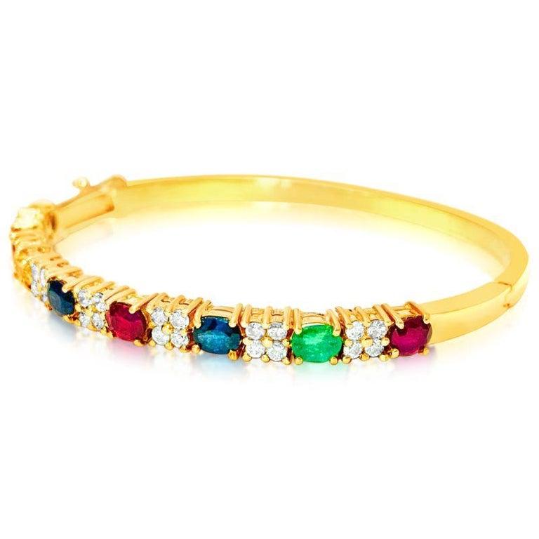 Art Deco Ruby Sapphire Emerald and Diamond Bracelet in 18 Karat Yellow Gold For Sale