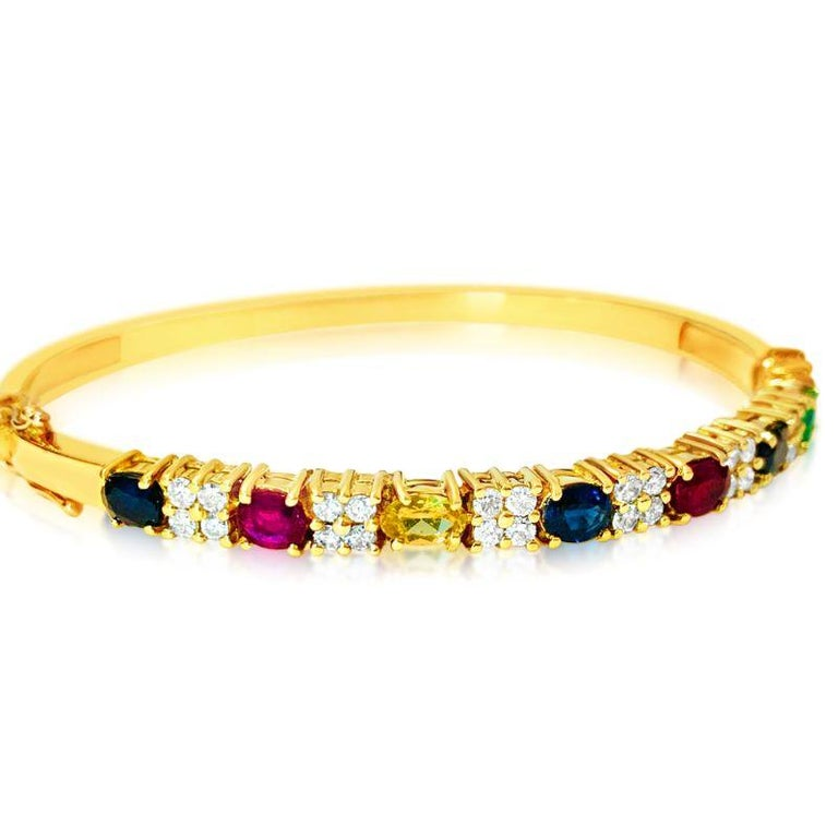 Oval Cut Ruby Sapphire Emerald and Diamond Bracelet in 18 Karat Yellow Gold For Sale