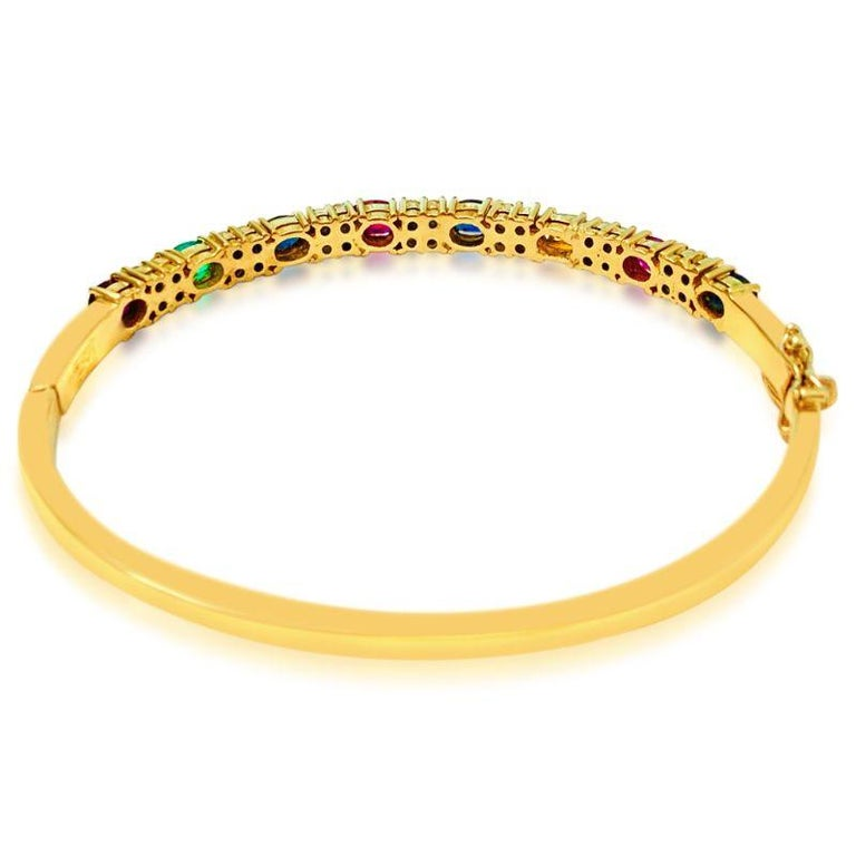 Women's Ruby Sapphire Emerald and Diamond Bracelet in 18 Karat Yellow Gold For Sale