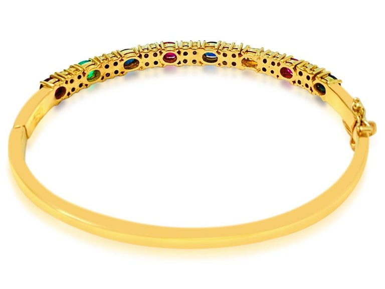 Ruby Sapphire Emerald and Diamond Bracelet in 18 Karat Yellow Gold For Sale 1