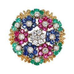 Ruby, Sapphire, Emerald and Diamond Circular Floral Design Brooch, 18k Gold