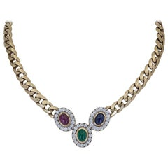 Ruby, Sapphire, Emerald and Diamond Halo Pendant Cuban Link Necklace