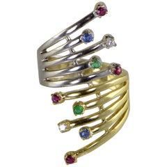 Ruby Sapphire Emerald Diamond Bypass Fan Two-Tone Gold Ring