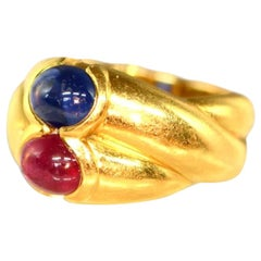 Ruby Sapphire Gold Cross Gold Ring