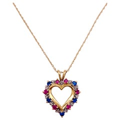 Ruby Sapphire Heart Necklace, 1.20 Carat Open Heart Love Pendant Necklace