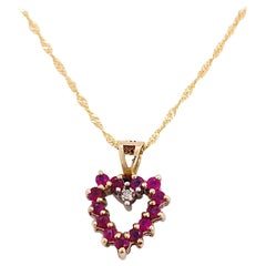 Ruby Sapphire Heart Pendant, Yellow Gold Open Heart with Diamond, Reversible